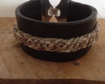 Leather Bracelet with horse hair