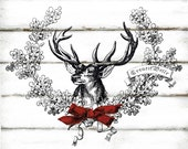Vintage Christmas Wreath Reindeer Large Instant Digital Download Printable Graphic Iron on Fabric Transfer Shabby Chic Decoupage Holiday Tag