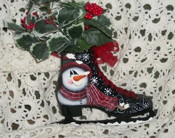 Hand painted ice skate