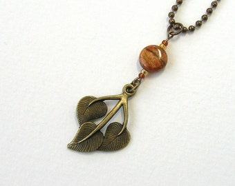 Three Leaves Jasper Necklace, Leaf Charm