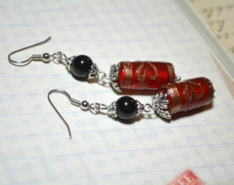 Holiday Earrings, Red Earrings, Holiday Jewelry, Obsidian, Party Earrings, Everyday Earrings, Christmas Gifts, Stocking Stuffers