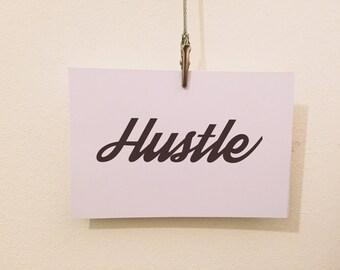 Hustle typography motivational quote postcard art print