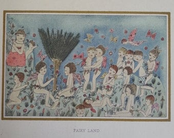 Antique book plate Fairy Land from book Flora1920's