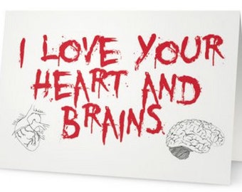 Zombie Love Heart and Brains Valentine's Day Greeting Card