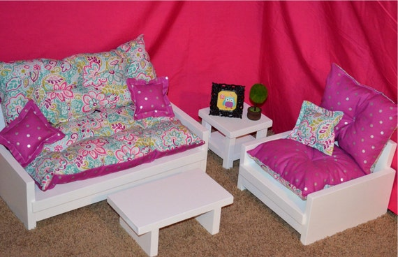 4 Piece Living Room Set For American Girl By Getdolledupdesigns
