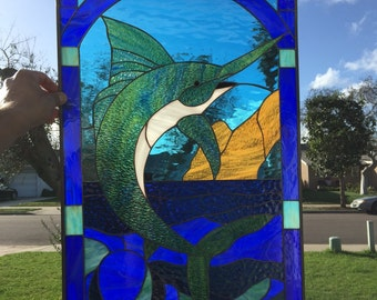 Wow! So Nice!  Blue marln  Stained Glass Window