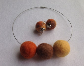 Unique needle felted handmade SET:Earrings and Necklace.Yellow,Brown,Orange