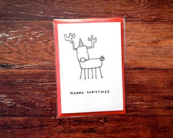 Merry Christmas - Rudolph hand drawn Christmas card