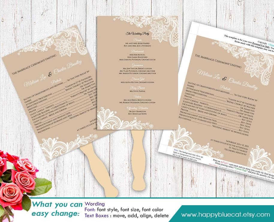 etsy shop policies template - diy printable wedding fan program template instant download