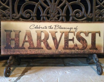 Celebrate the Blessings of Harvest - Thankgiving Fall Decoration Wood with Bark Decorative Sign