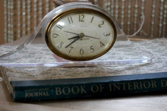 Mid Century Small Lucite Bedside Mantle Clock