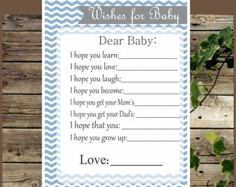 Printable Wishes for Baby, Blue Chevron, Instant Download, Baby Shower Games, Advice for Baby