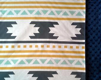 Aztec Baby Boy, Aztec baby girl , Aztec Baby Bedding, Aztec Baby Blanket  Gold, Mint, Navy, Navajo Blanket, Geometric, Baby Bedding