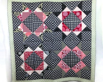 Modern Patchwork Quilt or Wall Hanging Missouri Star Block Throw or Lap Size