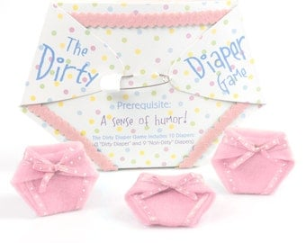 Dirty Diaper Game - Pink Girl Baby Shower Games - Fun Baby Shower Game - Messy Diaper Baby Shower Game - 10 pc. (1 Winner per Pack)