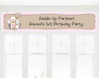 Little Cowgirl - Western Banner - Custom Baby Shower or Birthday Party Decorations