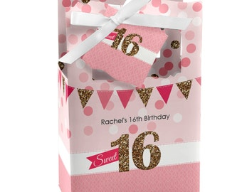 Sweet 16 Favor Boxes - Custom Birthday Party Supplies - Set of 12
