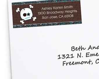 Skullitude - Boy Skull Address Labels - Personalized Return Address Sticker - 30 Count