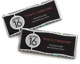 16th Birthday Custom Candy Bar Wrappers - Personalized Birthday Party Favors - 24 Count