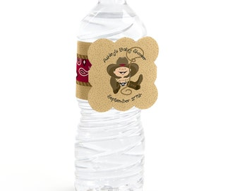 12 Cowboy Water Bottle Labels - Personalized Baby Shower and Birthday Party Supplies