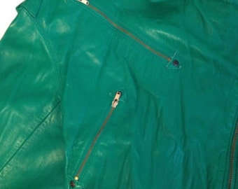 Rockabilly  Motorcycle Green Leather Jacket Vintage  Michael Hoban for North Beach Leather