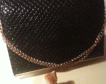 Classy Black Whiting and Davis Black Mesh  Vintage Handbag