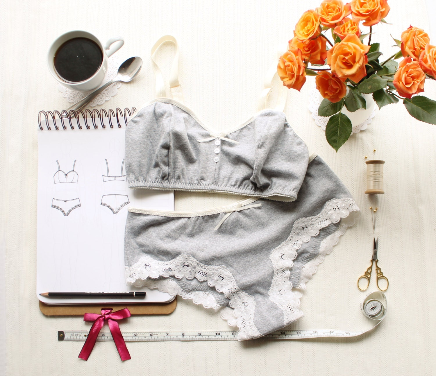 Sewing Pattern Triangles Lingerie Sewing Pattern Set