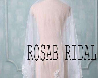 Lace beading wedding veil, Bridal veil lace, Beading Lace edge wedding veil White / Ivory