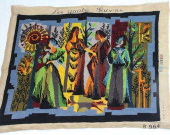 """Price Reduced:  Needlepoint Tapestry, Fine, French Titled """"The Four Seasons"""""""
