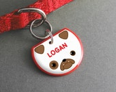 Bulldog Dog ID Tag - Cute Pet Tag, Custom Name, Dog Accessories - Pixsqueaks