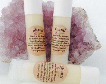 Shanti / Crystal Vegan Lip Balm / Gem Elixir Healing Infused / Inner Peace, Love, Acceptance / Stand in the Moment / BOHO / Stocking Stuffer