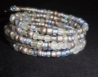 A wrap bracelet done in my snow bead mix