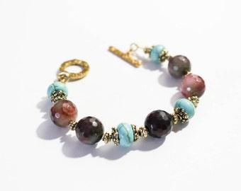 Gemstone bracelet, agate and turquoise