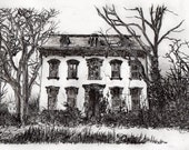 Broken Home. Etching. Illustration. Nature. Landcape. Decay.