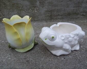 Vintage Little Frog Ashtray and Tulip Flower Candle Holder!