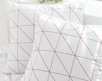 Modern Style Red Line Pattern Cotton Fabric by Yard