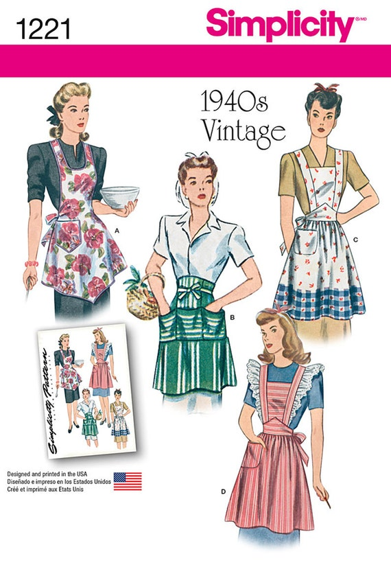 Simplicity Sewing Pattern 1221 Misses' Vintage Aprons