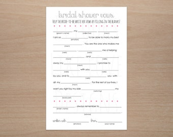 Printable Funny Wedding Vows Mad Libs // Bridal Shower Bachelorette party // Digital File // 8.5x11 // Instant Download