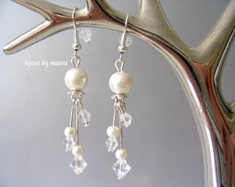 Fancy wedding bridal jewelry earrings pearl pearlescent ivory and transparent crystal