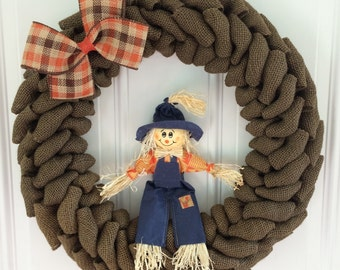 Scarecrow burlap wreath - Fall wreath - Harvest wreath - Fall burlap - harvest burlap - Scarecrow wreath - scarecrow -