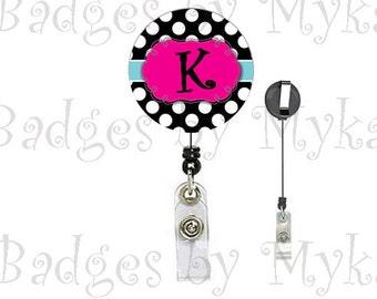Retractable ID Badge Holder - Pink and black polka dot