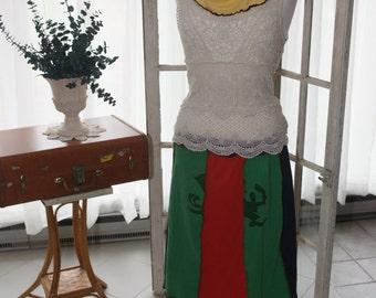 "Aline skirt with ""Fighting Irishman"" fashioned from vinatge t shirts"