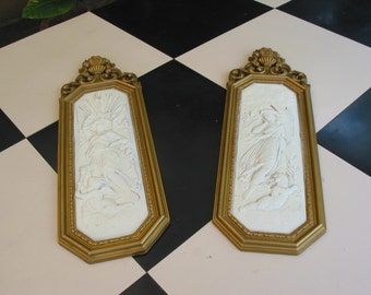 Vintage Pair  of Wall Plaques With Angelic Motif By Dart Inc. U.S.A.