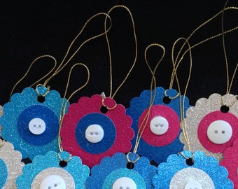 CLEARANCE - Set of 10 Christmas glitter gift tags with button center.