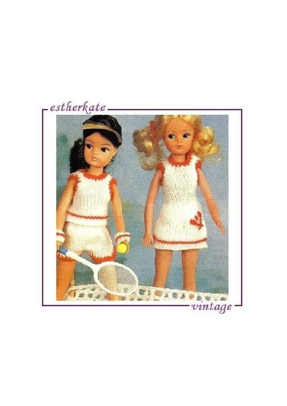 Knitting Patterns For Sindy Dolls : VINTAGE knitting pattern pdf Sindy doll clothes tennis
