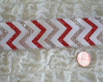 """5 YARDS Valentine Ribbon Christmas Ribbon 1.5"""" Red and White and Silver Chevron Glitter Wired Ribbon Craft Supplies Bow Making Supplies"""