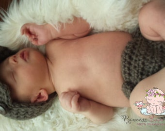 Newborn Baby Boy Photo Prop Handmade Crochet Diaper Cover, Crochet Diaper Cover And Hat Set * Taupe