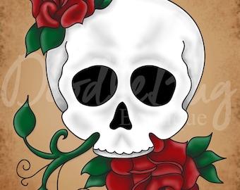 8x10 Skull and Roses Digital Art DOWNLOAD