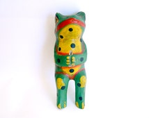 Wooden frog flower holder.  A hand painted 1920 - 1930 vintage toy from the early 20th Century.