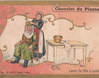 Antique French advertising chromo  trade card from France. Planteur Chocolate